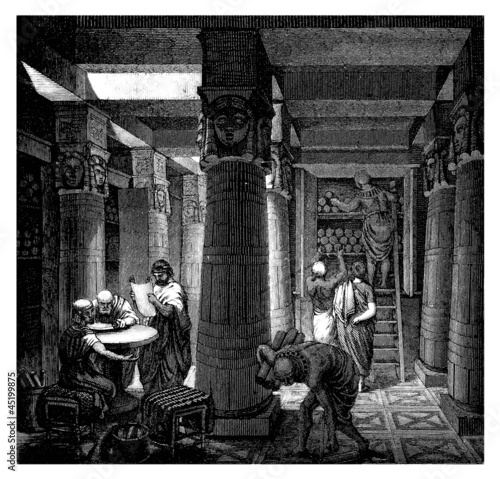Leinwanddruck Bild Alexandria : Library - Bibliotheque - Antiquity Egypt