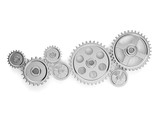 3d illustration: the mechanism. Group gears in working order