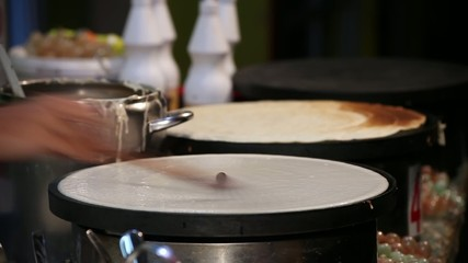 Time Lapse of Young Adult Woman Makes Pancake