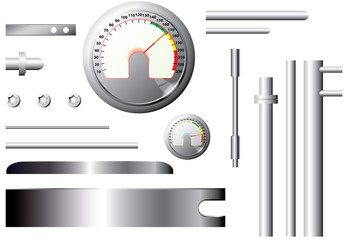 metal measuring elements and pipes - vector set