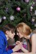 Young couple celebrates Christmas