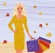 Autumn shopping blonde girl. vector illustration