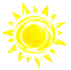 Sun painting on white background