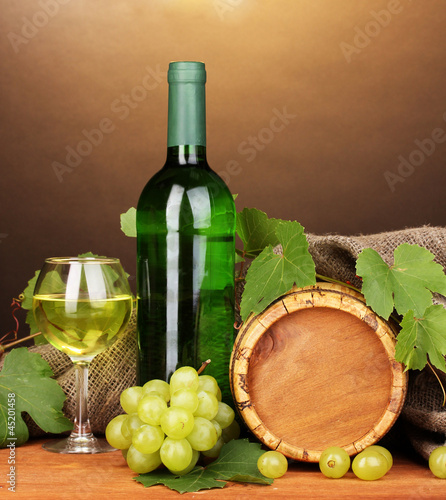 Bottle of great wine with glass and octave
