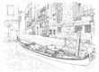 Venice - Calle Fondamenta Megio. Ancient building & gondola. Vec