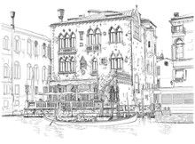 Venise - Grand Canal. Le bâtiment et la gondole ancienne. Dessin vectoriel