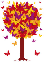 autumn tree with butterfly leaves, vector