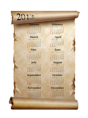 Calendar 2013. Scroll of old paper with curled edges isolated