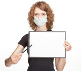 Woman wearing medical gauze bandage showing blank clipboard poster