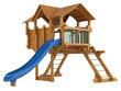 Covered wooden platform and slide