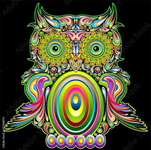 poster of Owl Psychedelic Popart - Gufo Psichedelico Decorativo - Vector