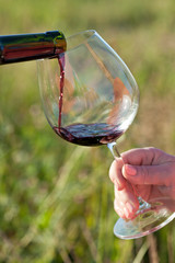 Wine pouring from bottle, outdoor