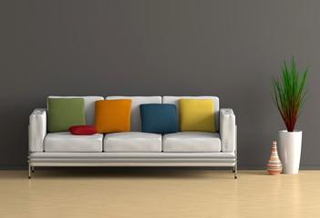 Weißes Sofa mit bunten Kissen