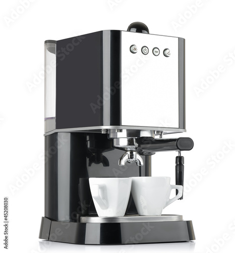 Espresso coffee machine with two cups on white