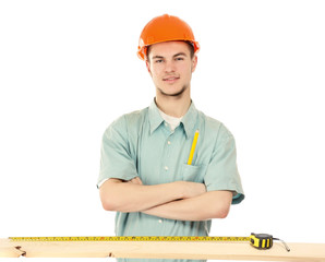 A young construction worker, isolated on white