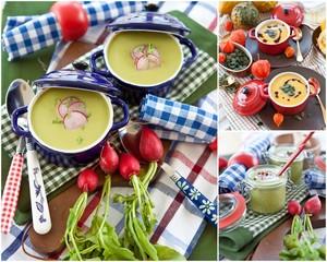 Verschiedene Suppen und Gemüse