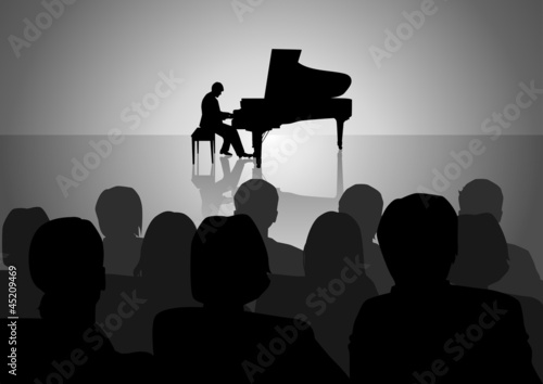 Silhouette illustration of people watching piano recital