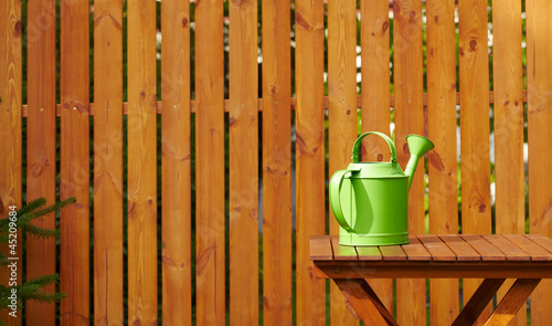Garden tools on the wooden background - 45209684