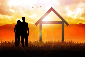 Conceptual image of young married couples with house icon