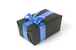 black gift box with blue ribbon
