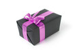 black gift box with pink ribbon
