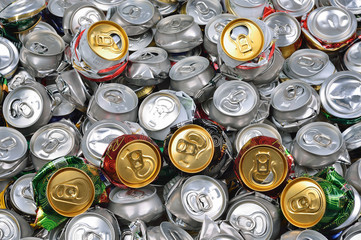 Background of crashed beer cans