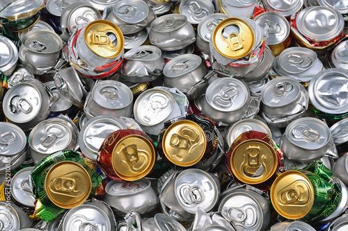 Background of crashed beer cans - 45210885