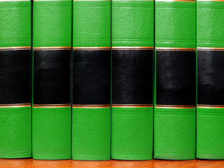 Green Books on Shelf