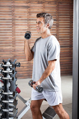 Man Lifting Dumbbells In Health Center