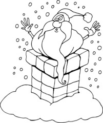 cartoon santa claus for coloring book