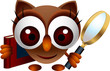 cute owl  with book and magnifying glass