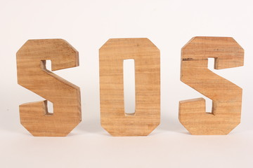 SOS text animation with wooden letters version 1