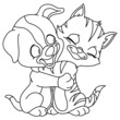 Outlined puppy and kitten
