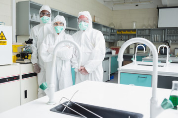 Three laboratory technicians