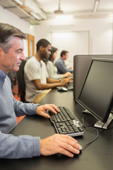 Man in computer class