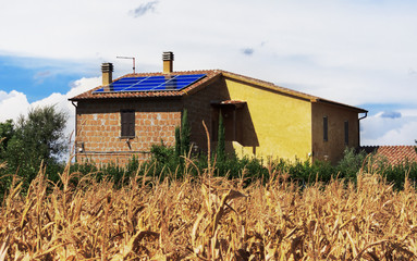 Solar panels in the countryside