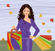 Autumn shopping brunette girl, vector illustration