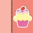 Greeting card with a cupcake. Vector illustration.
