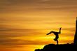 sunset handstand on rocks