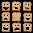 Bread slices with face expressions