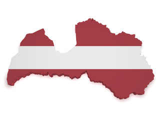 Latvia Map 3d Shape