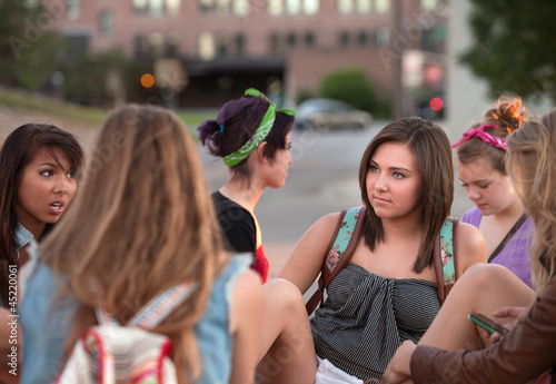 Female Students Talking Outside