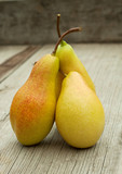 Three ripe pears with cuttings
