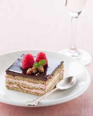Portion of chocolate and strawberry cake