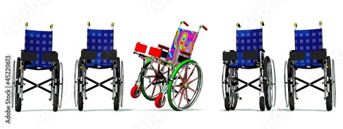 Funny and happy colorful wheelchair