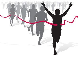 Winning Athlete ahead of a group of marathon runners.
