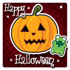 Happy Halloween card with monster and pumpkin, vector