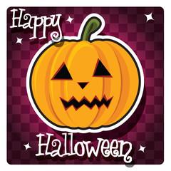 Happy Halloween card with a pumpkin, vector