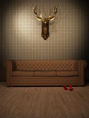 Goldener Hirsch über Ledersofa 3D