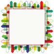 Abstract bright city silhouette frame design